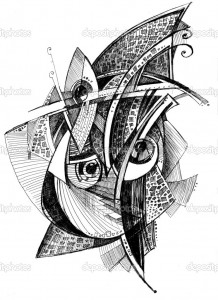 abstract unusual pencil drawing