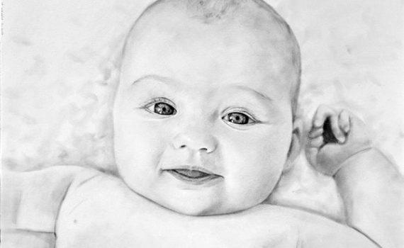 Dibujo de bebé a lápiz